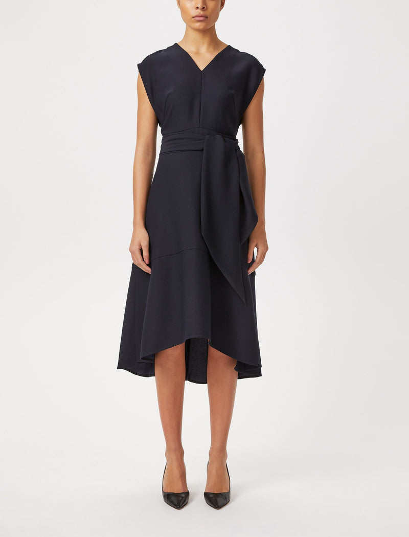 black dipped hem midi dress