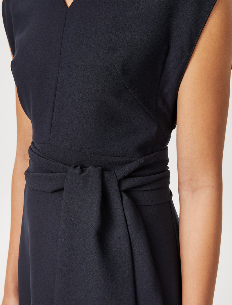 dipped hem midi dress black