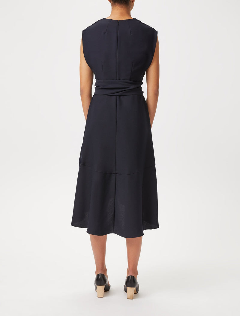 black midi dipped hem dresses