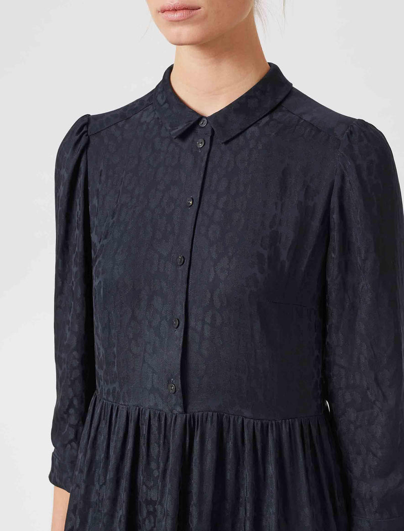 India Silk Blend Belted Shirt Dress - Navy Leopard Jacquard