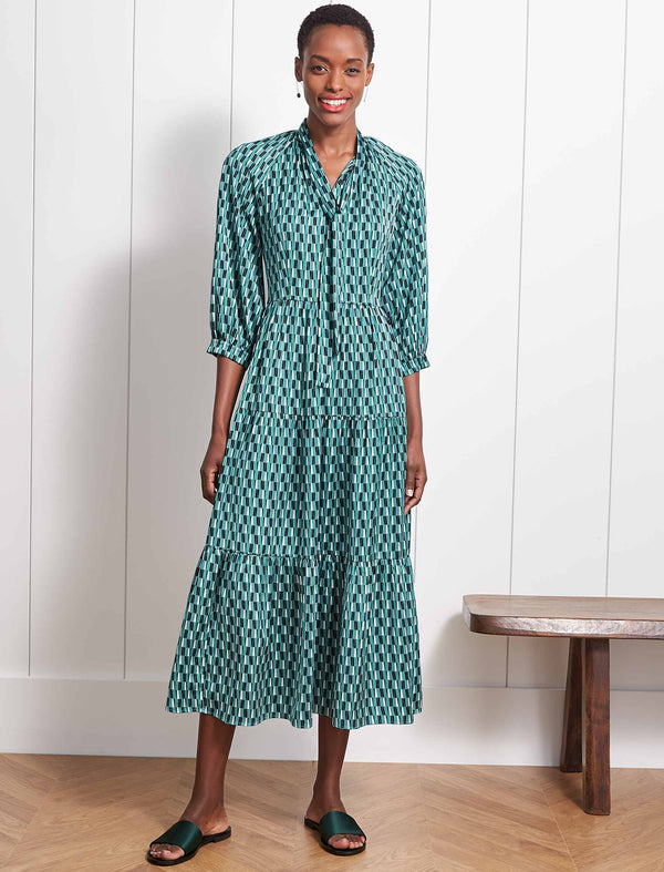 Olivia Gathered Pussy-Bow Maxi Dress - Mint Geo Print