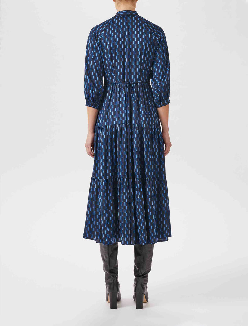 Olivia Gathered Pussy-Bow Maxi Dress - Navy Geo Print