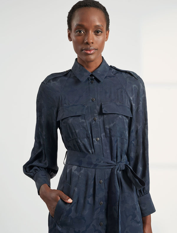 Robyn Pocket Detail Knee Length Shirt Dress - Navy Camo Jacquard