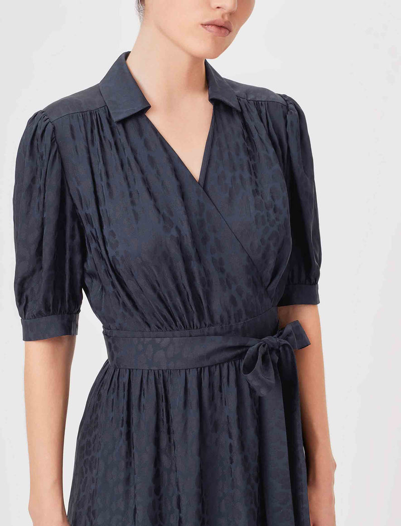 Silk Wrap Dress Navy