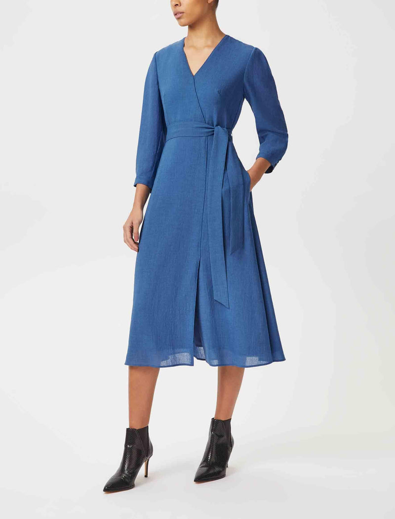 Lily Mock Wrap V-Neck Midi Dress - Cornflower Blue
