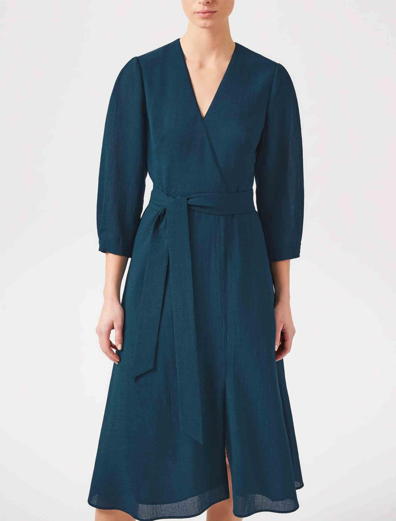 petrol blue wrap dress