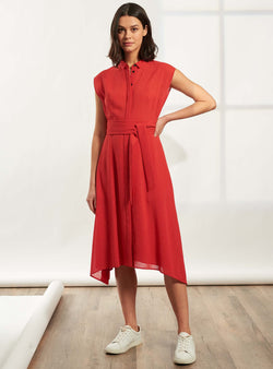 Thea Handkerchief Hem Shirt Dress - Crimson