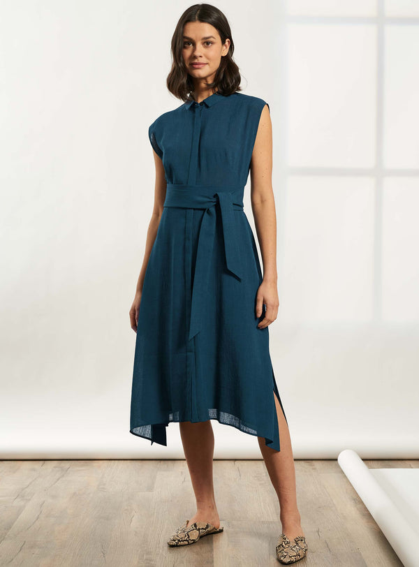 Thea Handkerchief Hem Shirt Dress - Petrol Blue