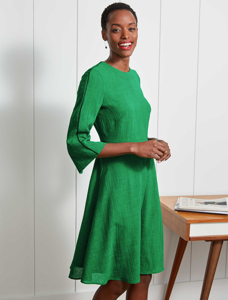 Florence Fluted Split Sleeve Knee Length Dress - Emerald Green
