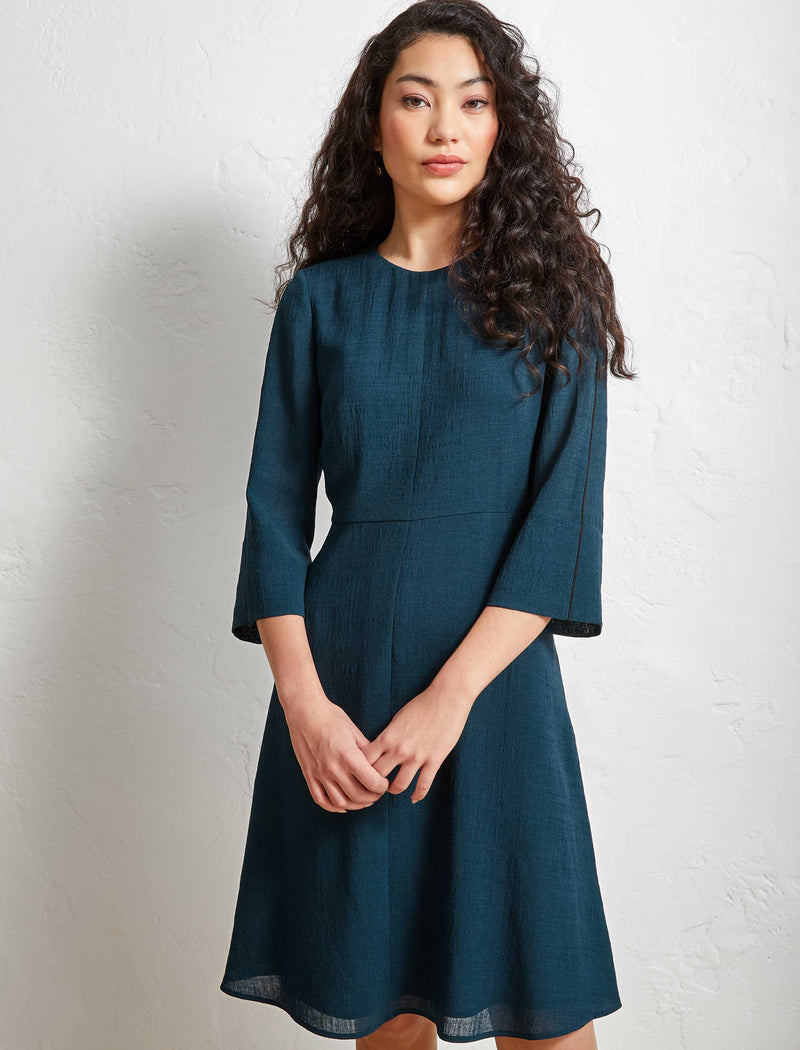 Florence Fluted Split Sleeve Knee Length Dress - Petrol Blue