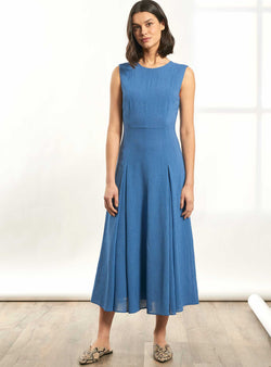 Melina Sleeveless Maxi Dress with Pleats - Cornflower Blue