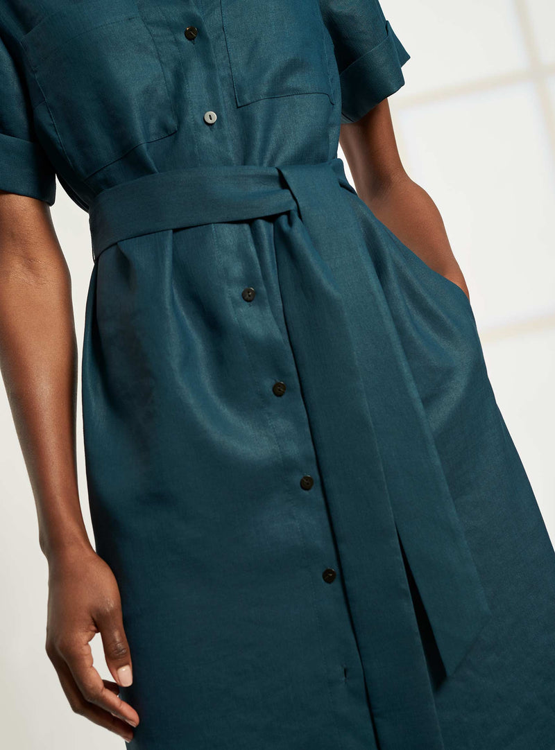 Lexi Short Utility Sleeve Maxi Shirt Dress - Petrol Blue