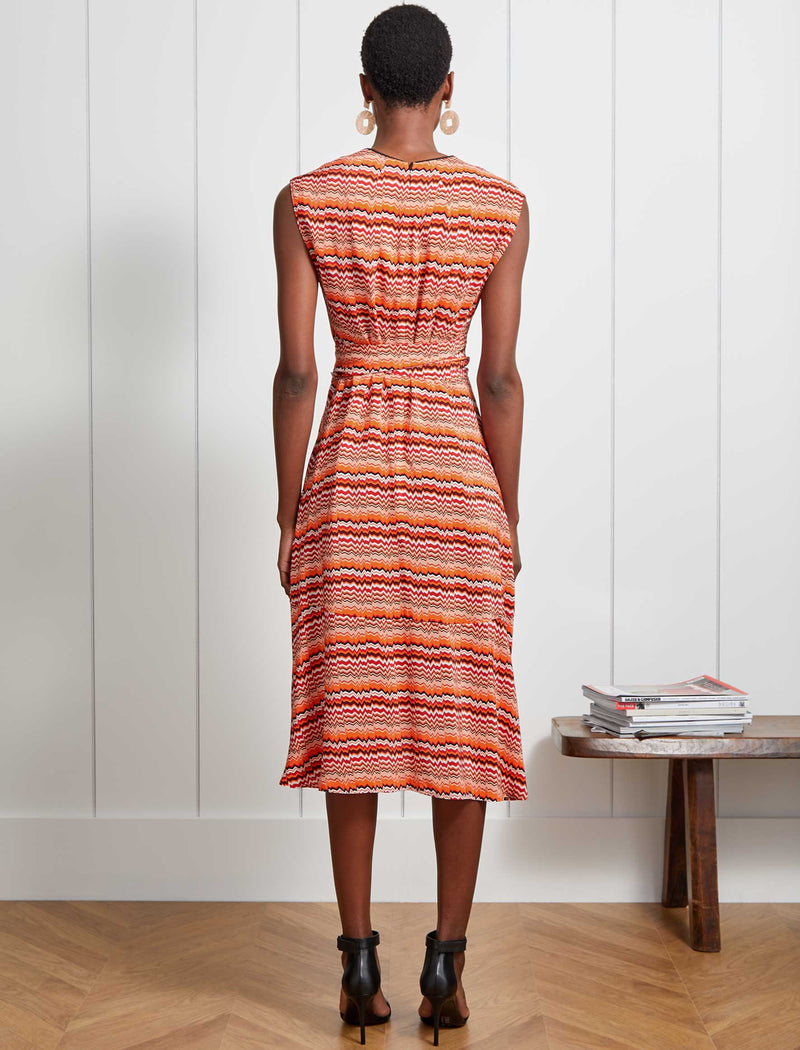 Freya V-Neck Dipped Hem Midi Dress - Burnt Orange Chevron