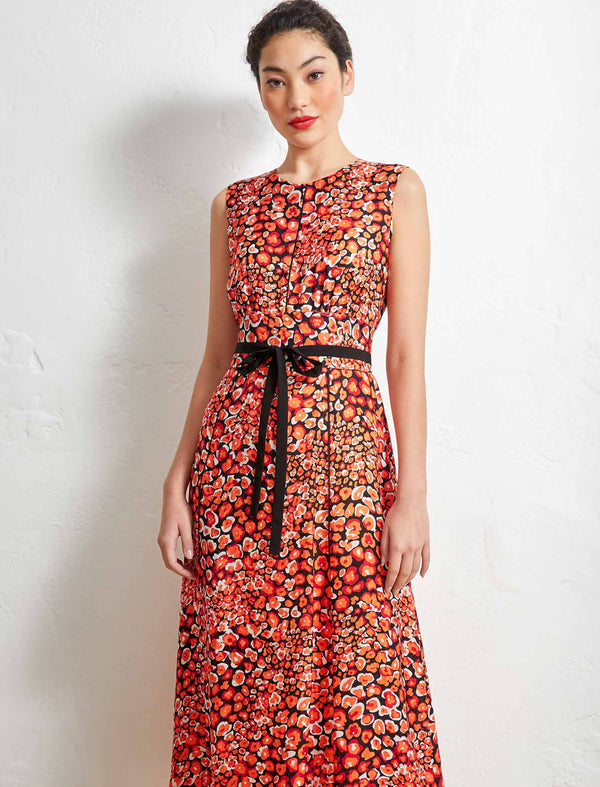 Rosie Sleeveless Maxi Dress With Wide Belt - Burnt Orange Leopard Pansy
