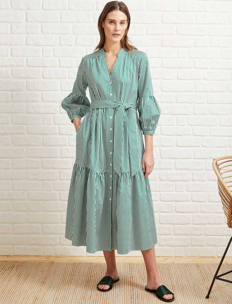 Alice Cotton Blouson Sleeve Maxi Dress - Emerald Green/White Stripe