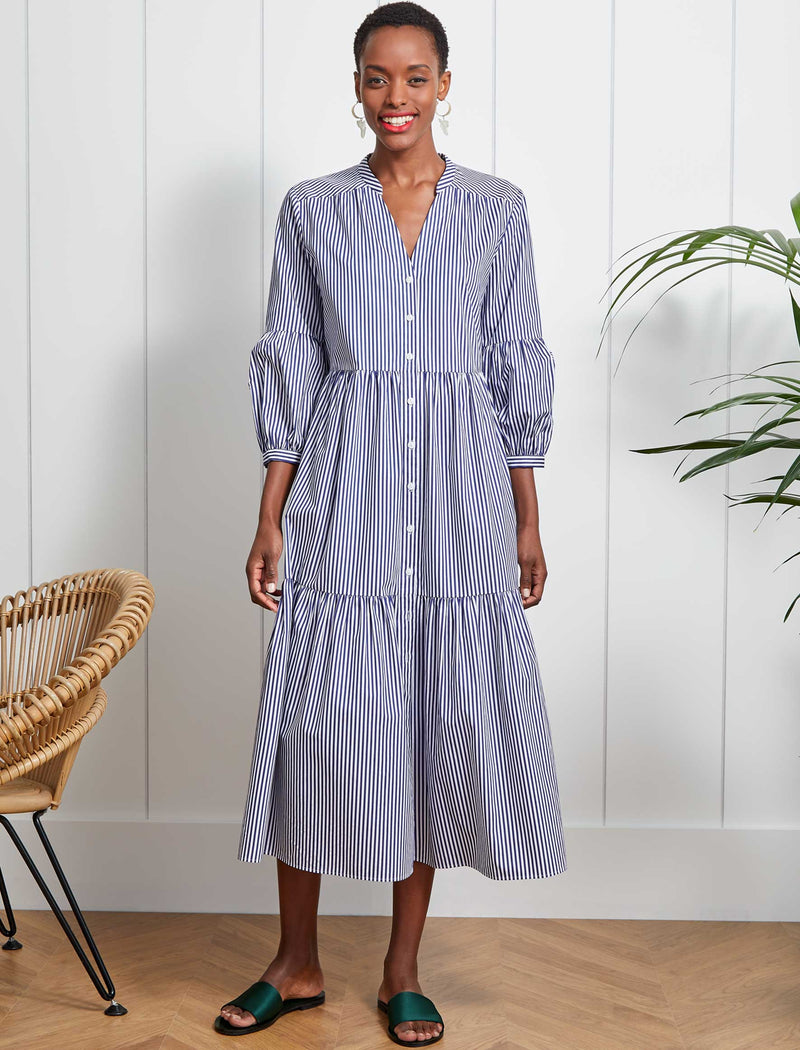 Alice Cotton Blouson Sleeve Maxi Dress - Navy/White Stripe