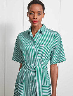 Brooklyn Cotton Short Sleeve Maxi Shirt Dress - Emerald Green/White Stripe