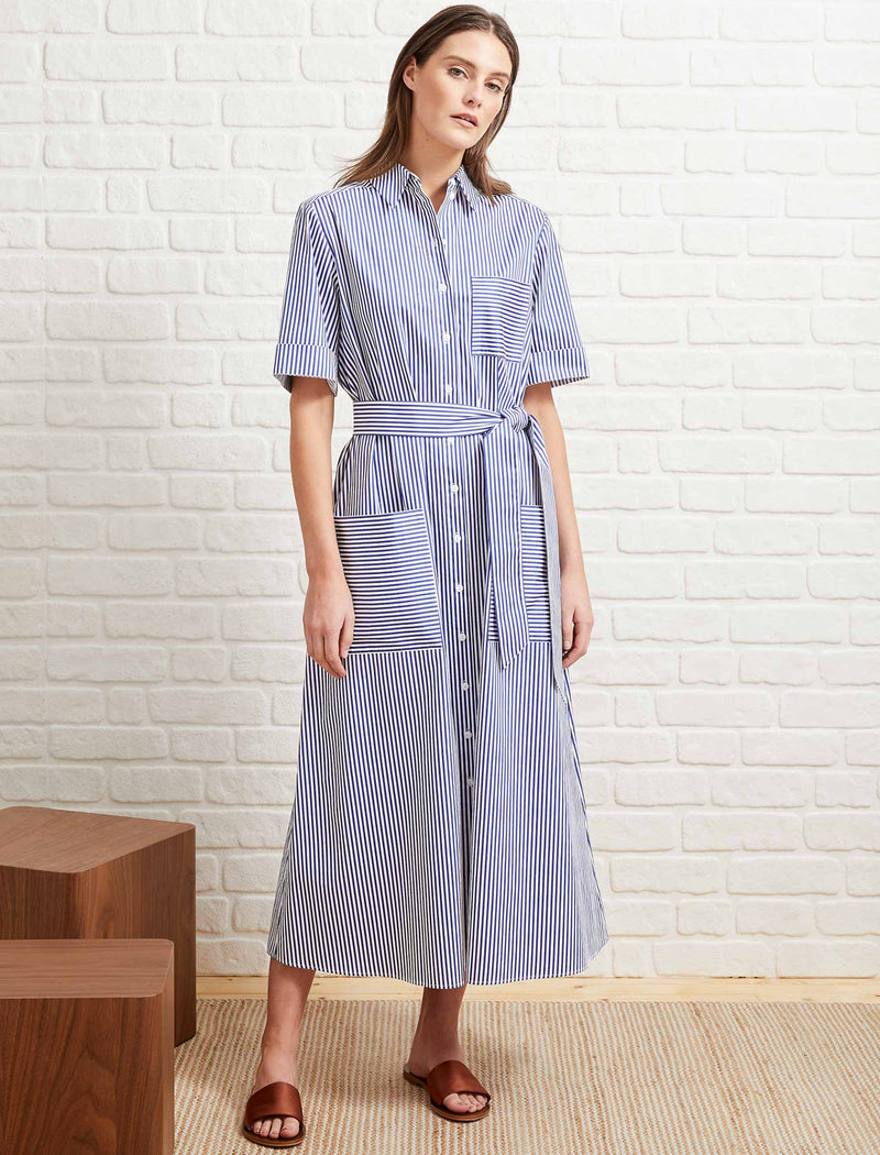 Brooklyn Cotton Short Sleeve Maxi Shirt Dress - Navy/White Stripe