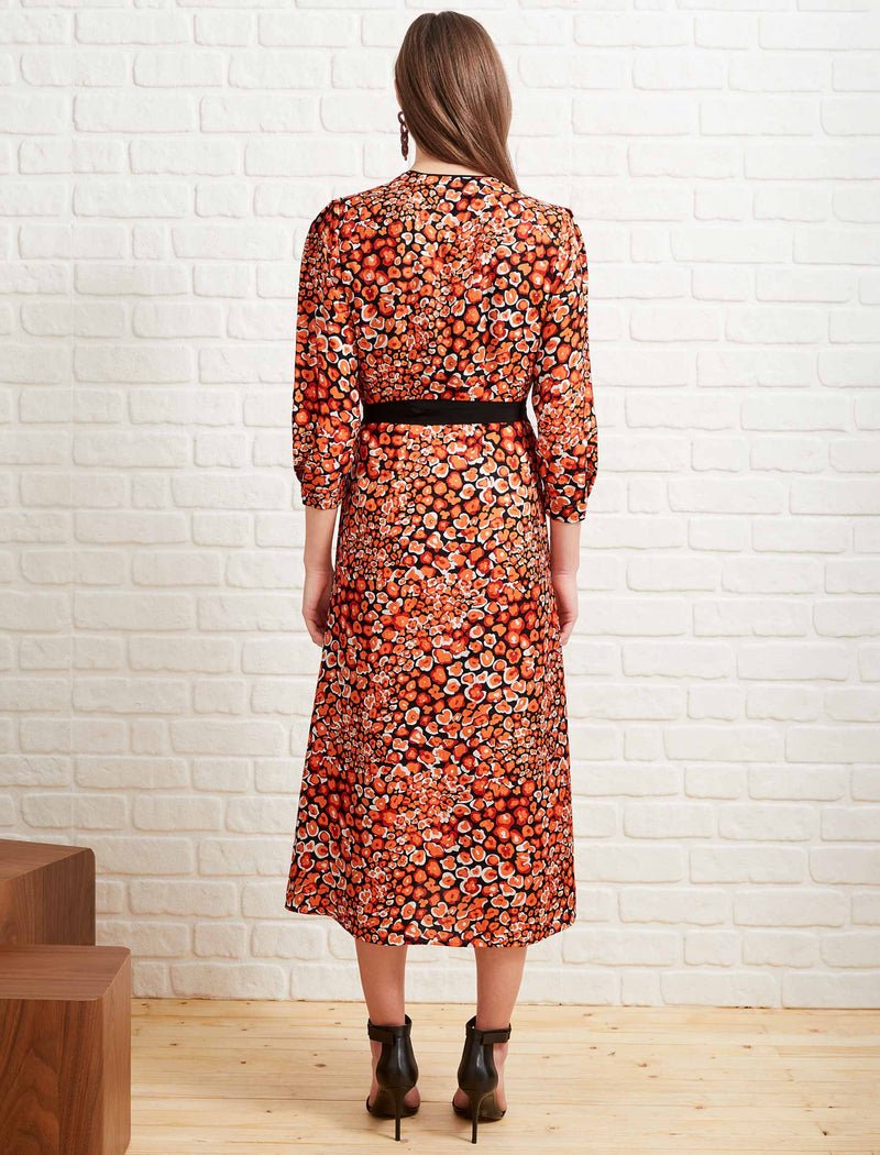 Syla Wrap Maxi Dress with Grosgain Tie - Burnt Orange Leopard Pansy