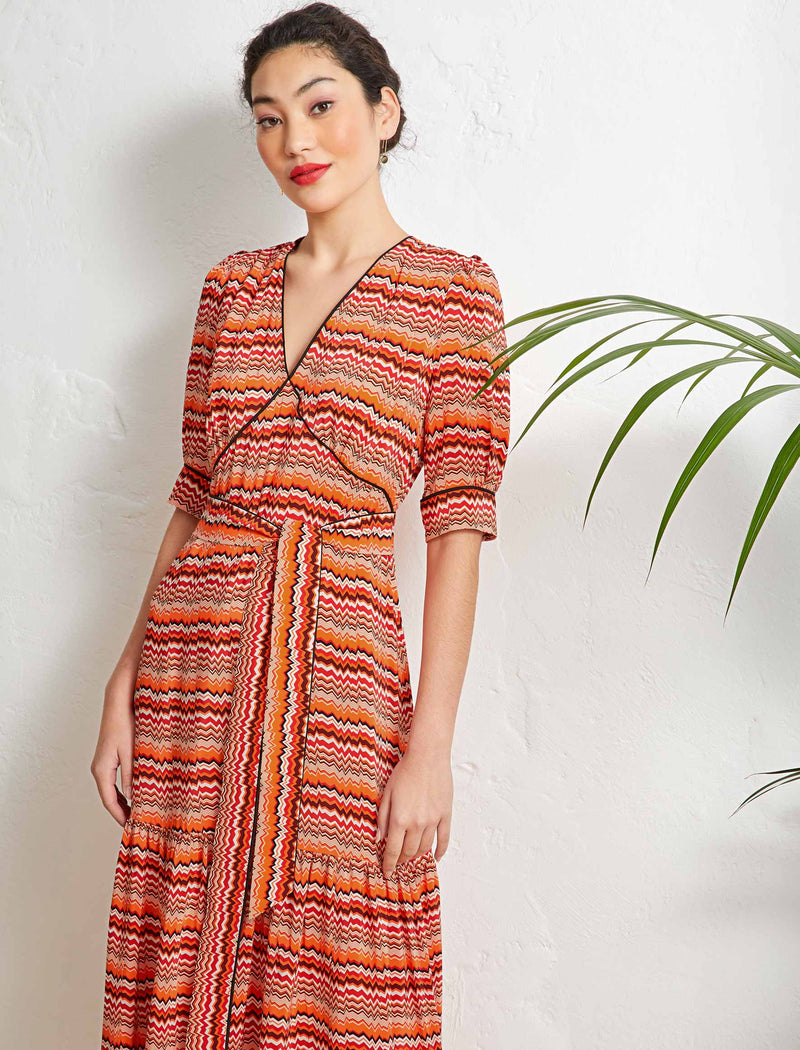 Maisie Ruffle Hem Maxi Tea Dress - Burnt Orange Chevron