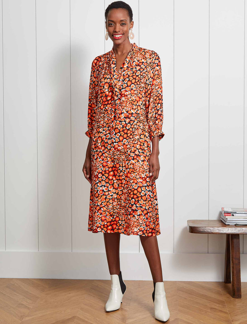 Theo Pussy-Bow Trapeze Midi Dress  - Burnt Orange Leopard Pansy