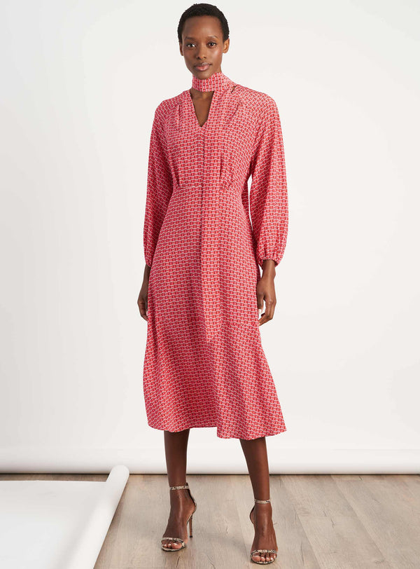 Lottie Silk V Neck Gathered Midi Dress With Neck Tie - Rose Circle Geo Print