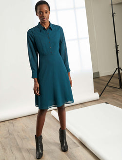 Veronica Collared Long Sleeve Dress - Petrol Blue