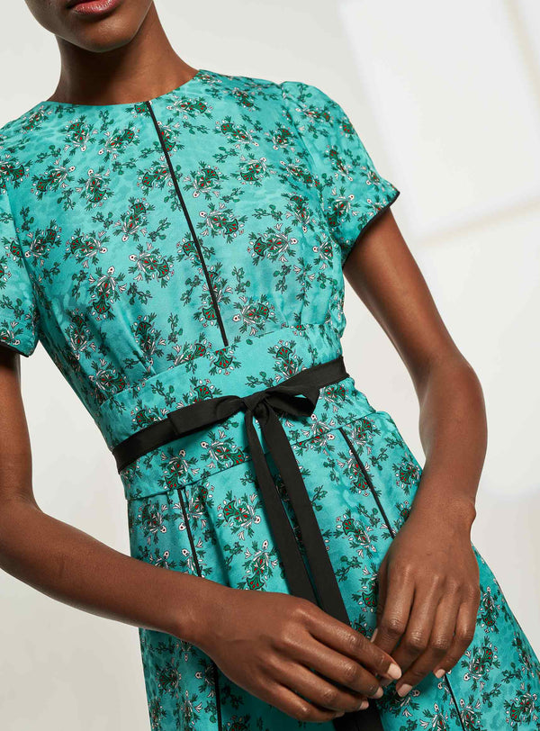 Rosie Short Sleeve Maxi Dress with Wide Belt - Mint Floral Print