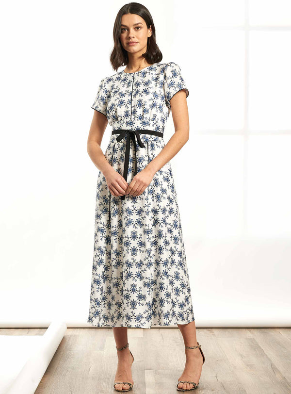 Rosie Short Sleeve Maxi Dress with Wide Belt - White / Cornflower Blue Floral Print