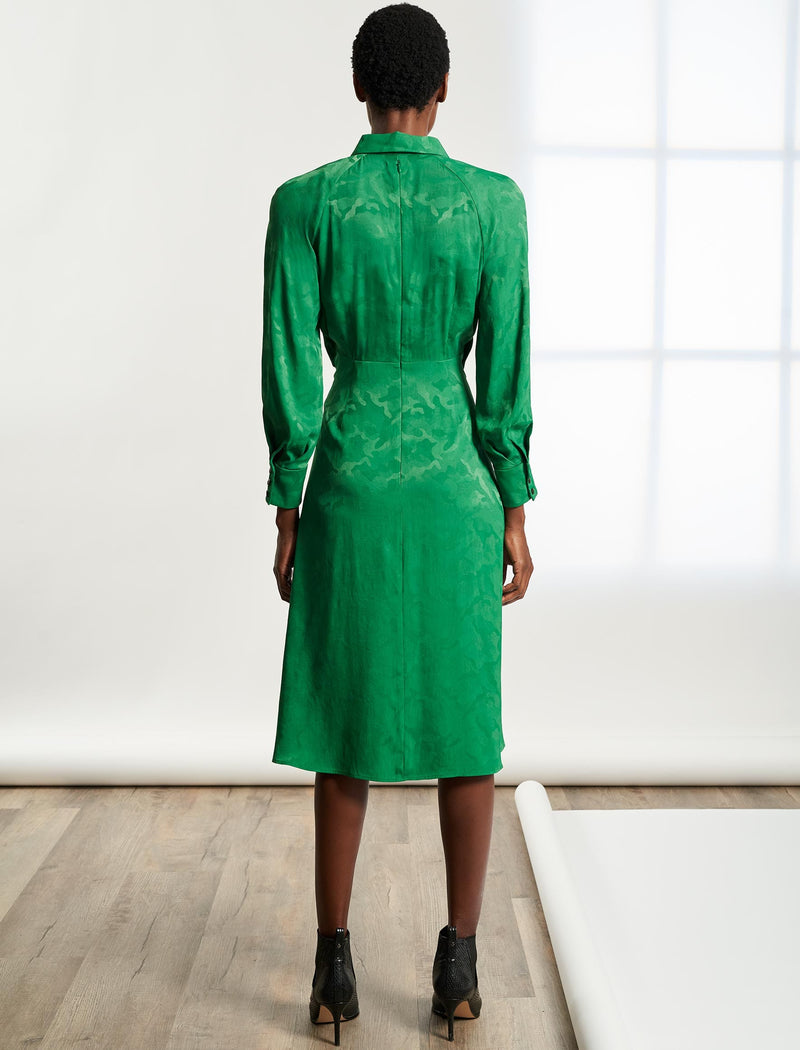 Esther Tie-Front Shirt Dress - Emerald Green Camo Jacquard