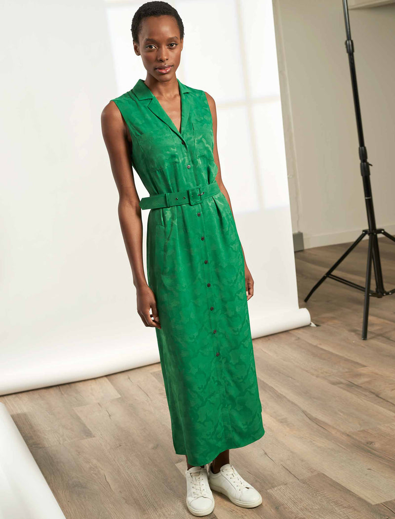 Spencer Sleeveless V-Neck Maxi Shirt Dress - Emerald Green Camo Jacquard