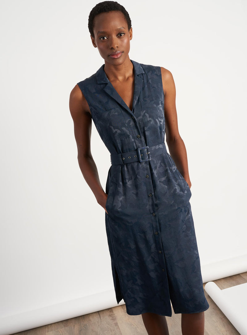 Spencer Sleeveless V-Neck Knee Length Shirt Dress - Navy Camo Jacquard