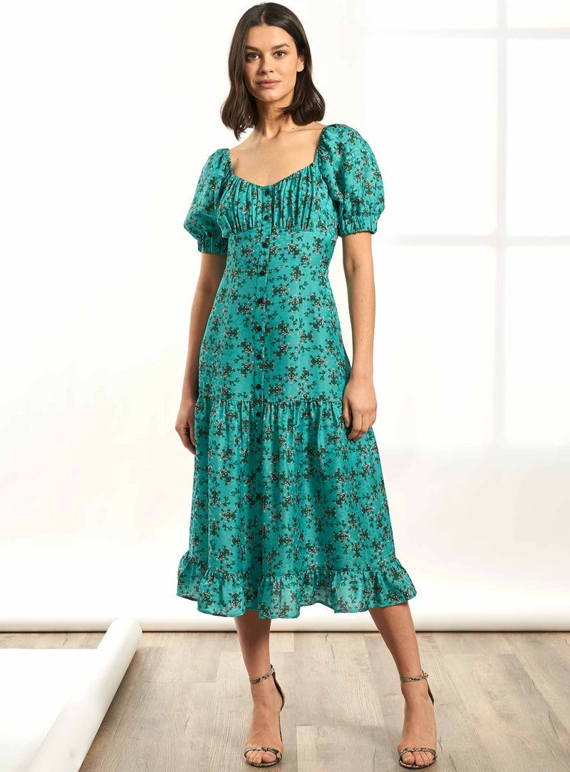Paloma Short Sleeve Midi Dress with Gathered Bardot Bodice - Mint Floral Print