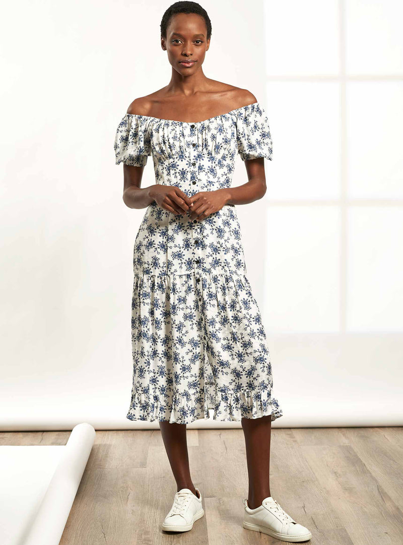 Paloma Short Sleeve Midi Dress with Gathered Bardot Bodice - White / Cornflower Blue Floral Print