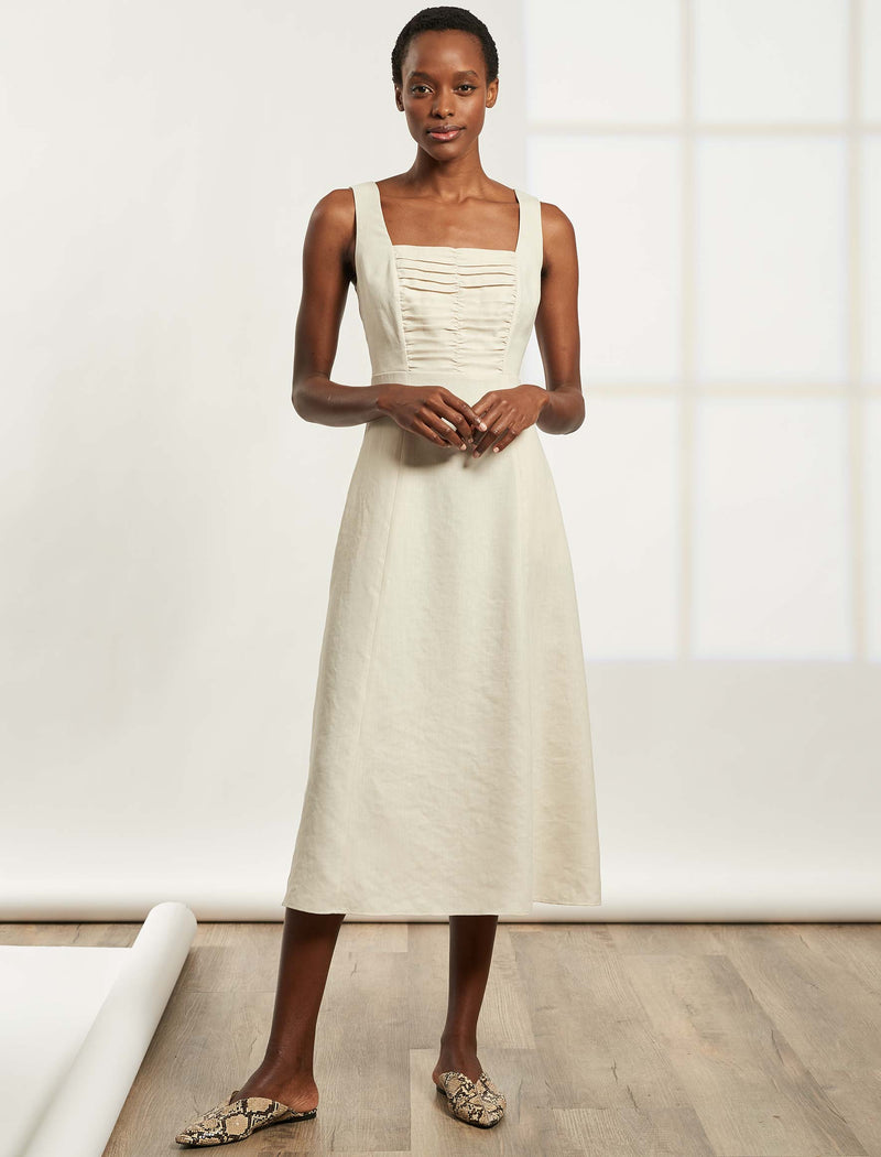 Delilah Sleeveless Midi Dress with Gathered Bodice - Ecru