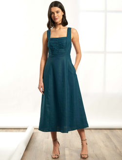 Delilah Sleeveless Midi Dress with Gathered Bodice - Petrol Blue
