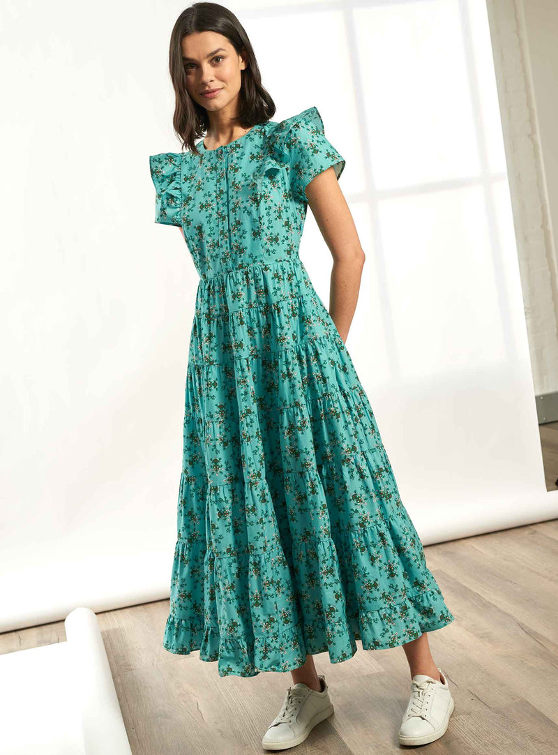 Sawyer Short Frill Sleeve Gathered Maxi Dress - Mint Floral Print