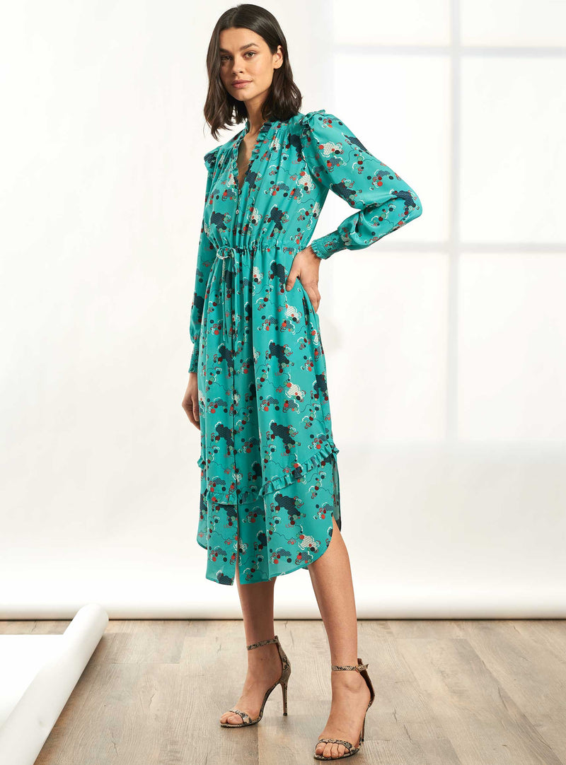 Stella Drawstring Long Sleeve V-Neck Frill Midi Dress - Mint Spiral Clouds Print