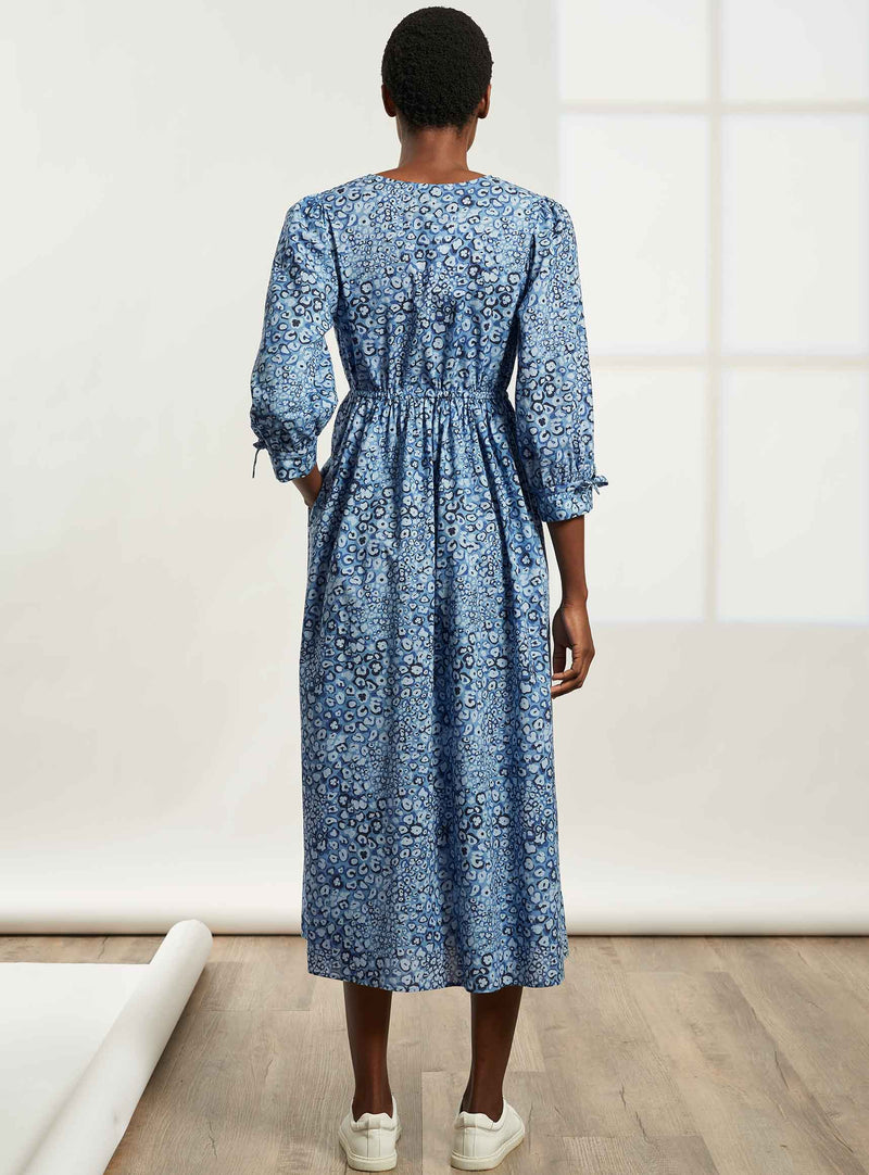 Juniper Drawstring Sleeved V-Neck Maxi Dress - Cornflower Blue Leopard Pansy Print