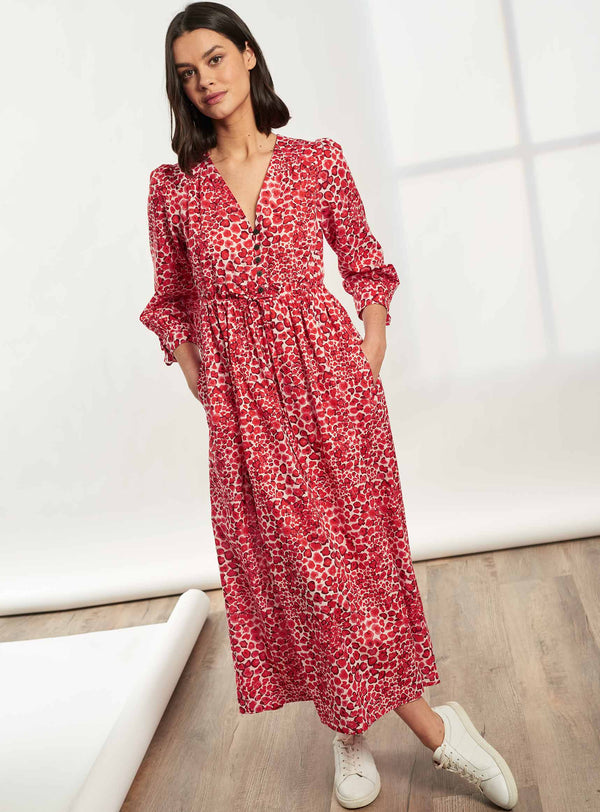 Juniper Drawstring Sleeved V-Neck Maxi Dress - Crimson Leopard Pansy Print