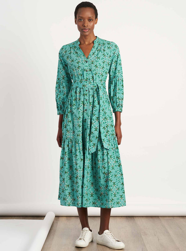 Alice V-Neck Blouson Sleeve Gathered Maxi Shirt Dress - Mint Floral Print
