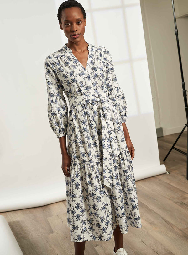 Alice V-Neck Blouson Sleeve Gathered Maxi Shirt Dress - White / Cornflower Blue Floral Print
