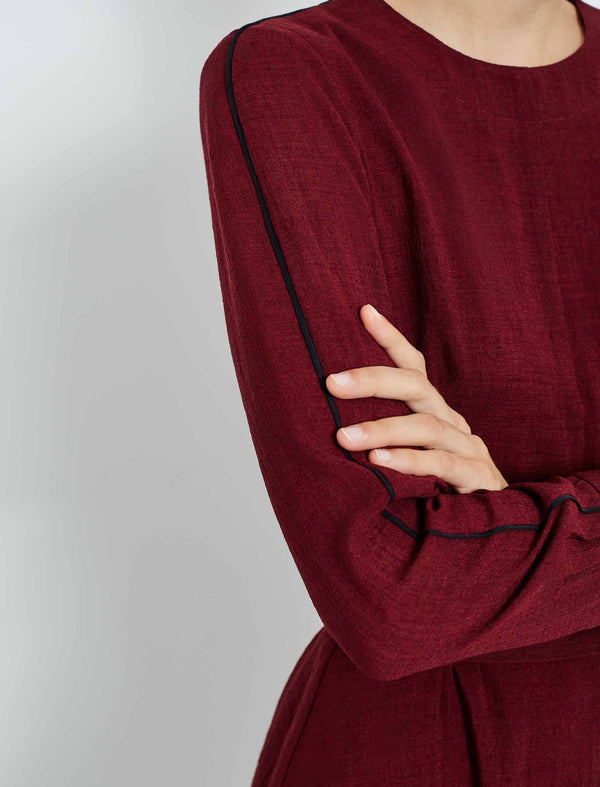 Long Sleeve Knee Length Dress With Wide Belt - Dark Red