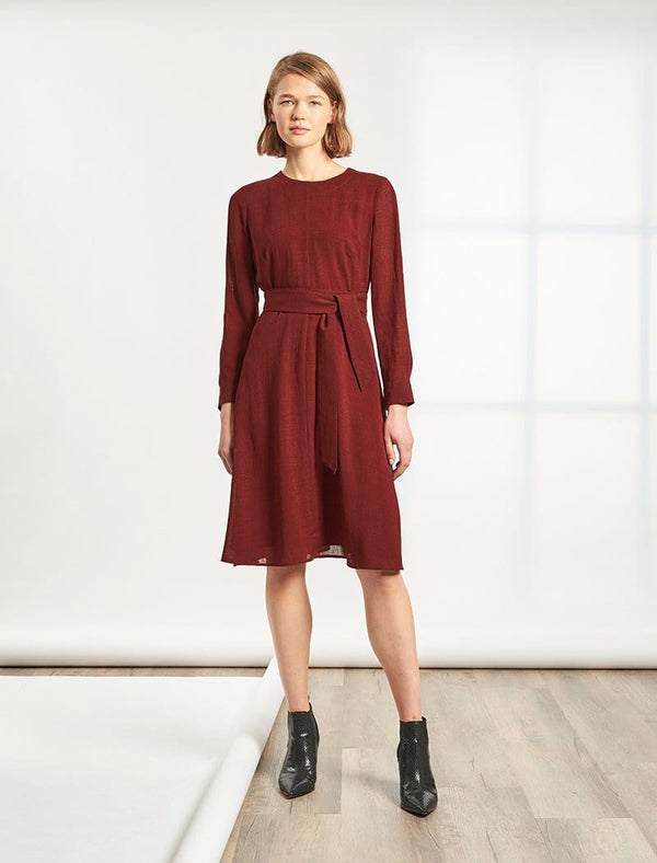 Zoe Long Sleeve Knee Length Dress - Dark Red