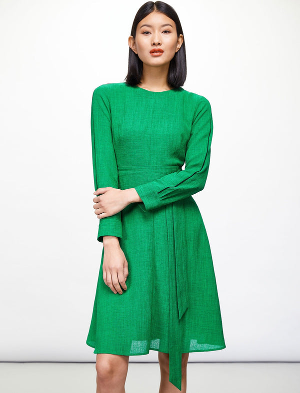 Zoe Long Sleeve Knee Length Dress - Emerald Green