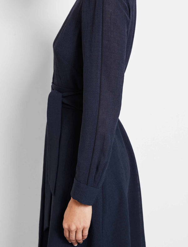 Zoe Long Sleeve Knee Length Dress - Navy