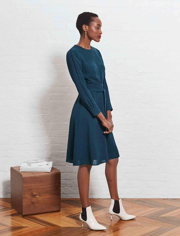 petrol blue knee length dress