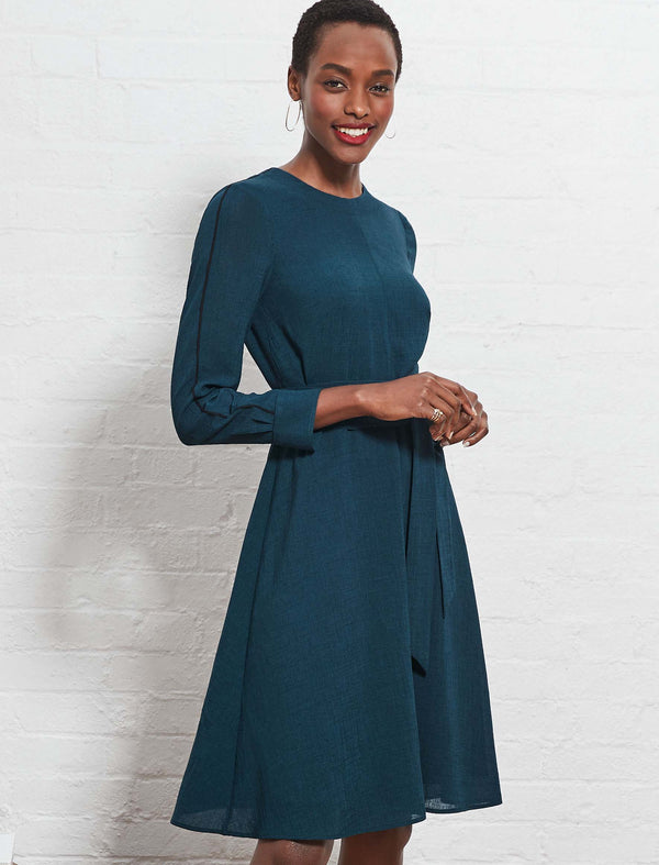 Zoe Long Sleeve Knee Length Dress - Petrol Blue