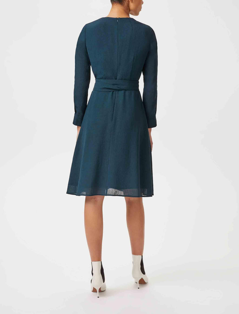 petrol blue long sleeve knee length dress