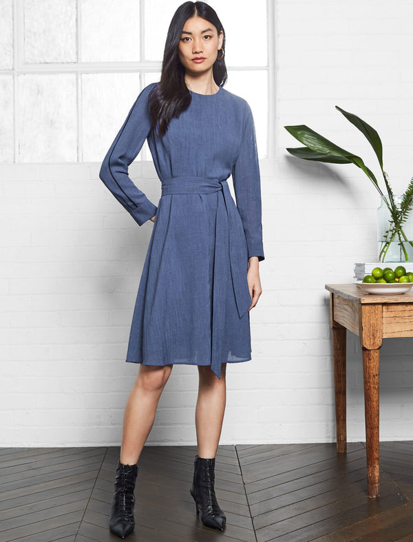 Zoe Long Sleeve Knee Length Dress With Wide Belt - Powder Blue